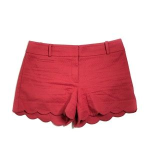 """LOFT Shorts 4"""" Inseam Red Texturized Scalloped"""